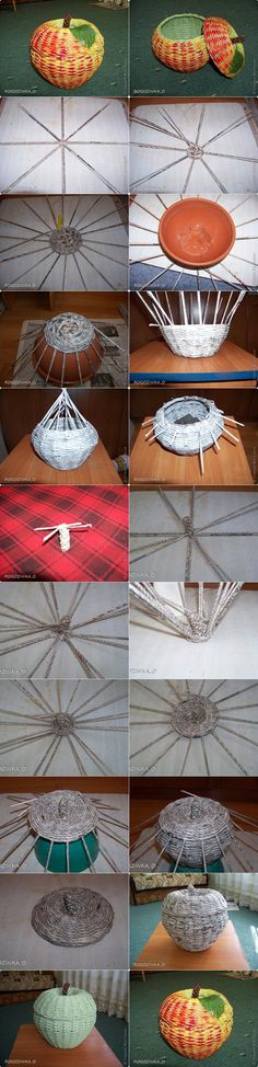 DIY Woven Apple Shaped Basket from Recycled Newspaper Newspaper Basket, Newspaper Crafts, Hobbies And Crafts, Diy And Crafts, Arts And Crafts, Papier Diy, Magazine Crafts, Paper Weaving, Recycled Crafts