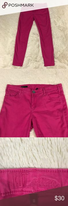 """Kut From The Kloth Ankle Skinny Jeans Women's size 8 bright pink Kut From the Kloth Brigitte Ankle Skinny jeans. Comes from a smoke free home!  Measurements (flat lay):  Waist - 15 1/2"""" Length - 36"""" Inseam 27"""" Kut from the Kloth Jeans Skinny"""