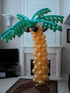 Balloon Palm Tree - No custom expensive balloon branches required ! Luau Theme Party, Moana Birthday Party, Luau Birthday, Safari Party, Balloon Decorations Party, Birthday Party Decorations, Balloon Party, Balloon Palm Tree, Luau Baby Showers