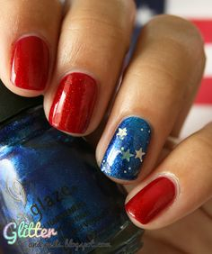 DIY Glittery Patriotic Nails - For 4th of July, Memorial Day, Labor Day or Veterans Day Events.