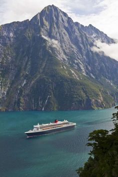 The Queen Mary 2 arriving at Milford Sound, New Zealand
