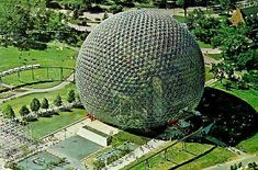 US Pavilion, Expo 67 Montreal: Buckminster Fuller geodesic sphere pre-figures Spaceship Earth at EPCOT