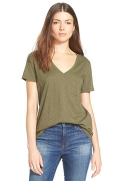 Free shipping and returns on Madewell 'Whisper' Cotton V-Neck Pocket Tee at Nordstrom.com. A deep V-neck tops a classic pocket tee spun from soft slub cotton in a spectrum of colors that add punch to your everyday wardrobe.