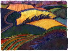 Landscape-inspired textile art using hand-dyed fabric, stitching and mixed media… Textile Fiber Art, Textile Artists, Creative Textiles, Creative Art, Mode Vintage Illustration, Landscape Art Quilts, Thread Painting, Quilted Wall Hangings, Felt Art