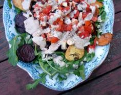 Roasted beets and sweet potatoes with fresh tomatoes and mozzarella
