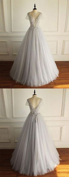 Gray v neck tulle lace long prom dress, gray evening dress