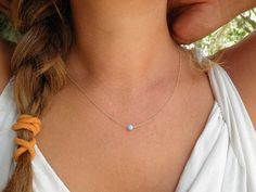 Opal Necklace, Tiny One 4mm Blue Opal Necklace, 14K Gold Filled Necklace, Opal Jewelry, Minimalist Pendant, Delicate Necklace on Etsy, $32.00