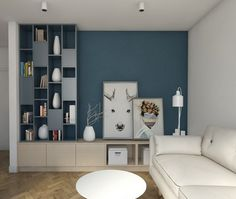 Mur de couleur vivant bois brun gris-bleu canapé blanc