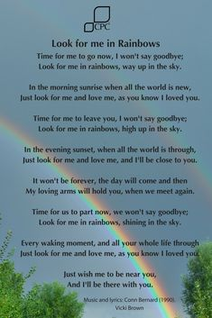 Look For Me In Rainbows - Pet bereavement poem Dog Loss Quotes, Dad Quotes, Horse Quotes, Faith Quotes, Daughter Quotes, Sister Quotes, Mother Quotes, Father Daughter, Rip Poems