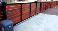 "51. Motorized Gate - Sliding Gate with 3.5"" Clear Redwood Planks Mar Vista, Ca 90036. Modern Horizontal Fence!"