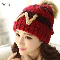Hairball knit beanie hats for women W letter winter hats cheap