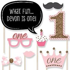 Fun to be One - 1st Birthday Girl - Birthday Party Theme | BigDotOfHappiness.com