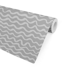WAVES ABSTRACT GREY Peel and Stick Wallpaper By Kavka Designs - 2ft x 16ft