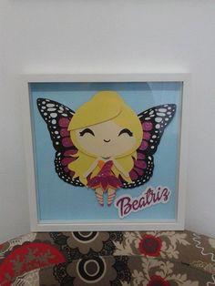Quadro Barbie Butterfly em Scrap