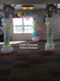 Our talented team provides expertise and experience in balloon decor for corporate and personal events, such as weddings, birthdays, baby showers and company functions Unicorn Themed Birthday Party, 10th Birthday, Unicorn Party, Balloon Centerpieces, Balloon Decorations, Balloon Ideas, Balloon Tower, Balloon Columns, Pyjamas Party