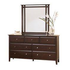 Heidi Espresso Wood 7 Drawer Dresser and Mirror