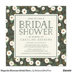 Magnolia Blossoms Bridal Shower Invitation Invite your bridal shower guests in chic southern style with our floral patterned bridal shower invitations. Sweet floral invitation cards feature a background pattern of creamy white magnolia flowers and lush green leaves on a smoky brown-gray background. Add your party details in chic hunter green lettering.