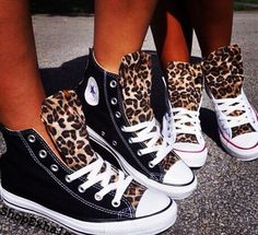 I did this to my Converse back in the day - Black with leopard print - You just sew material to the tongue Mother Daughter Outfits, Mommy And Me Outfits, Leopard Print Converse, White Converse, Converse Sneakers, Canvas Sneakers, Cheetah Print, Converse Outlet, Toddler Girls