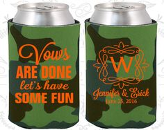 Vows are Done Lets Have Some Fun, Wedding Gift Ideas, Monogram Wedding Gift, Monogrammed Gifts,  Beer Koozies (60)