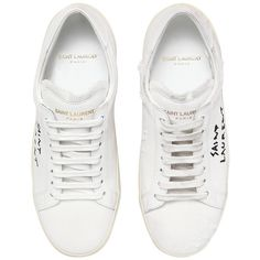 Saint Laurent Women 10mm Court Classic Logo Canvas Sneakers ($480) ❤ liked on Polyvore featuring shoes, sneakers, canvas trainers, canvas sneakers shoes, yves saint laurent shoes, rubber sole shoes and plimsoll shoes
