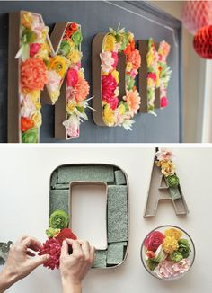 DIY Blooming Monogram. Perfect for a wedding or graduation. You could also do this with fake, more neutral colored flowers to keep this in your living room or bedroom year-round!