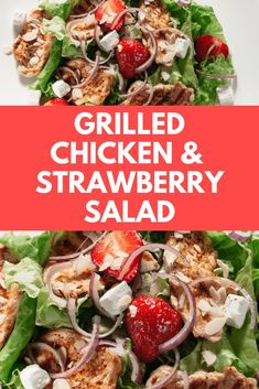 Make this Grilled Chicken and Strawberry Salad! This fresh, easy salad is just the thing to shake you out of your food rut; it's also a snap to put together. We love it for a satisfying lunch or light Summer meal. This recipe makes 2 salads. Light Summer Dinners, Easy Summer Meals, Healthy Summer Recipes, Healthy Salad Recipes, Summer Salads, Easy Recipes, Vegan Recipes, Ramen, Salads