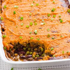 Sweet Potato Shepherd's Pie Recipe with ground turkey, beans, peas, no dairy and sweet potatoes with skin on for a delicious healthy crust.   ifoodreal.com