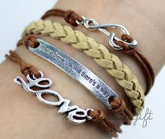 Silver notes love where there is a will there is a way bracelets brown rope woven bracelet personality fashion bracelet-Q059by luckystargift, $4.49