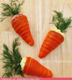 Orange crescent roll carrots stuffed with egg salad, chicken salad etc