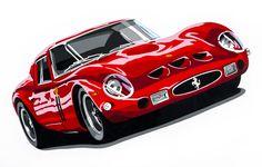 Ferrari 250 GTO. Hand cut vinyl on A2 Ice White card.