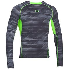 Under Armour HeatGear Armor Printed Tee ($30) ❤ liked on Polyvore featuring men's fashion, men's clothing, men's shirts, men's t-shirts, black, under armour mens shirts, mens mesh t shirt, mens mesh shirt, mens fitted t shirts and mens fitted shirts
