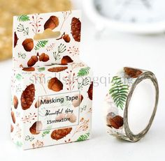 Pine cones DIY paper Sticky Lable Adhesive Sticker Decorative Washi Tape…