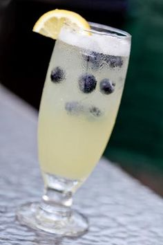 Blueberry Vodka Collins: Stoli Blueberry Vodka, fresh squeezed lemon & lime juice, topped with soda water & garnished with fresh blueberries