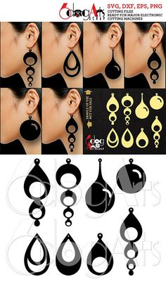 Leather (or Wood, Acrylic, etc.) Teardrop Earring / Pendant Cutting Templates - vector digital files to use for your crafting projects. WHAT YOU WILL RECEIVE You will receive these designs in 4 file formats: SVG (vector file, fully editable, unlimited resizing without loss of quality) DXF