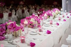 Head Table in Fuchsia and White provided by Weddings by Grace and Mona Honolulu 96803
