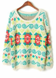 funky but cute for fall- with dark jeans and equestrian boots- Geometric Pattern Sweater