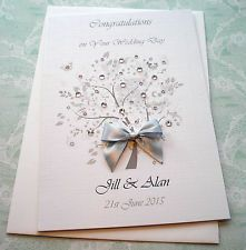 DIAMOND SILVER 10th 25th 60th  WEDDING ANNIVERSARY CARD HANDMADE PERSONALISED