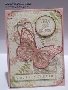 Verspielte Karte zum Muttertag mit dem Schmetterlingsgruß von Stampin' Up!