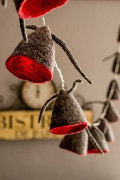 Spring String Lights LED battery powered Garland Felted wool Lamp Gray Red by UrsulaShop on Etsy
