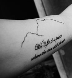 I got this in Milan, Italy Mountains represent difficulty of life, and the three persons that have most helped me The phrase is from a Bon Jovi's song, and one of my most important friends dedicate it to me once we had an argument I love it ;)