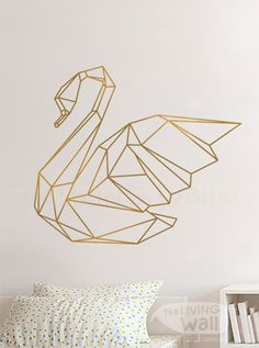 Geometrische Swan muur Sticker Home Decor muur door LivingWall