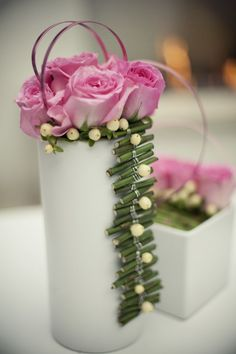 Instead of tossing all those extra stems for your DIY floral arrangements, wire them together to create a vase embellishment or table runner!  See more creative centerpiece ideas like this at www.thirtydaydash.com