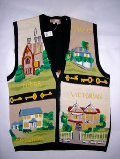 Lauren-Hansen-Womens-Kitschy-Realtor-Home-Builder-Cadigan-Vest-Sweater-L-NWT