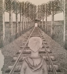 Stage 7 of my sketch. Working on the afternoon sunset. Theme: orphans. #arts #sketch #pencil #railway #trees #grass #pennyappeal #orphan #competition #artcompetition #child #shading #interpretation #symbolism #tunnel #wall #branches #journey