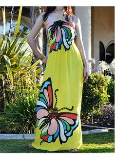 Yellow Butterfly Halter Beach Summer Maxi Dress