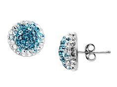 Ombre Earrings with Teal Swarovski Crystal in Sterling Silver