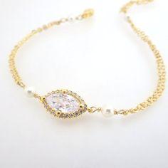 Gold bangle bracelet Pearl bangle bracelet Crystal by treasures570