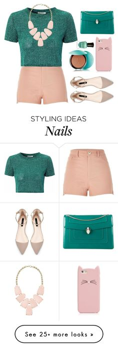 """""""Never ruin a good day by thinking about a bad yesterday."""" by zzeelleestyles on Polyvore featuring moda, River Island, Glamorous, Bulgari, Kate Spade, Guerlain, Deborah Lippmann i Kendra Scott"""