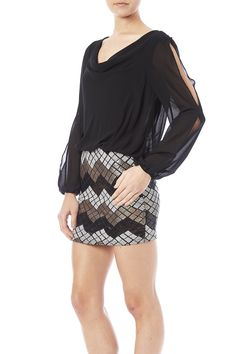 Above the knee dress with long sleeves and slits down the sleeves. Open back with a bodycon skirt.  Open Back Sequin Dress by Poetry. Clothing - Dresses - Mini Clothing - Dresses - Long Sleeve San Diego California
