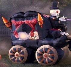 Airblown inflatable haunted wild stagecoach casket outdoor ...